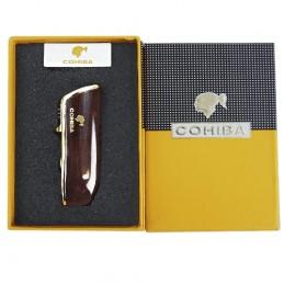 COHIBA cigarový zapaľovač s orezávačom - červenohnedý