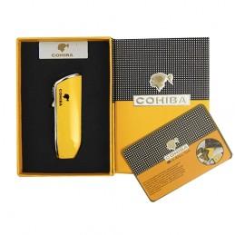 COHIBA cigarový zapaľovač s orezávačom - žltý