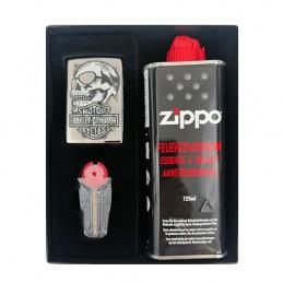 Zippo Set Skull black Harley Davidson