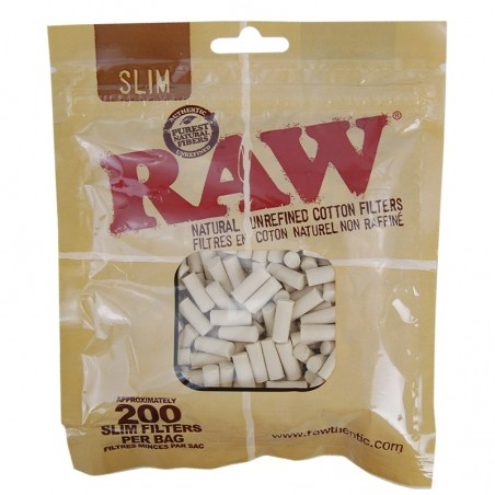 Cigaretové filtre RAW cotton slim 200 kusov