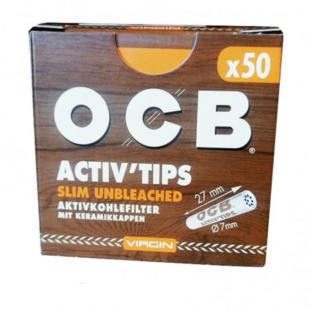Uhlíkové filtre OCB Activ Slim Unbleached 7mm 50 kusov