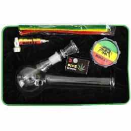 Bong set Breit - sklenené bongo, šlukovka, drvička, sitká a fajkové čističe