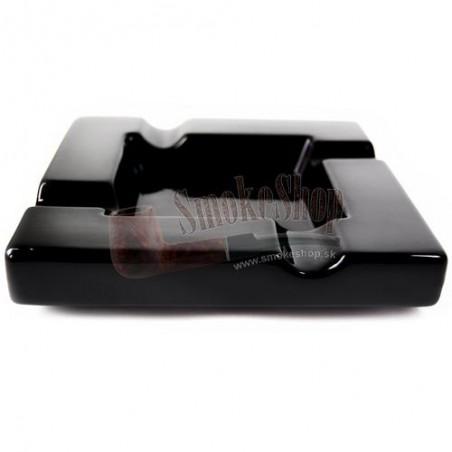 Popolník na cigary keramik 4 - Čierny lesklý