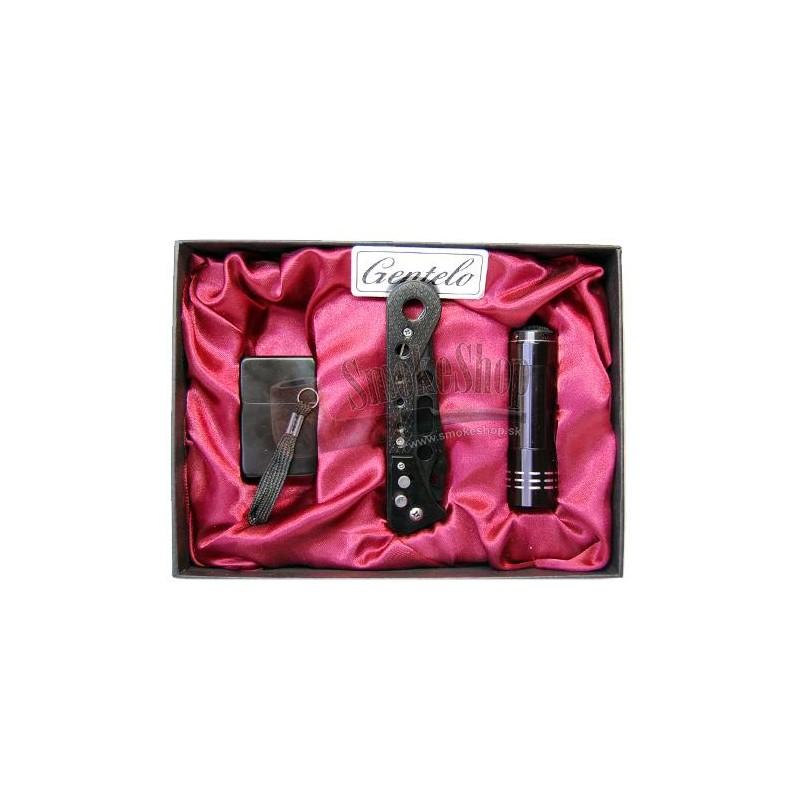 Set zapaľovač - nožík - baterka
