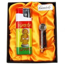 Fajkový Set Rasta life - šlukovka fajka, maxi zapaľovač, sitká