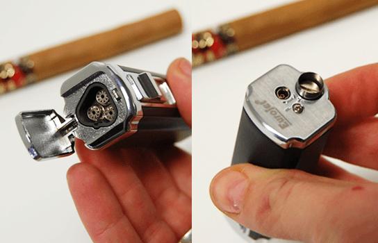 cigarový zapaľovač s vykrajovačom / orezávačom