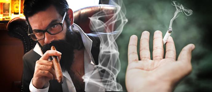 muž držiaci v ruke cigaru a ruka s cigaretou