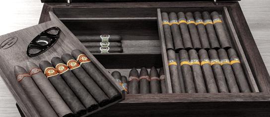 luxusný čierny humidor a kubánske cigary