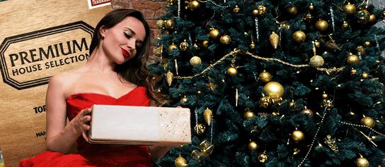 darček žena a vianočný stromček